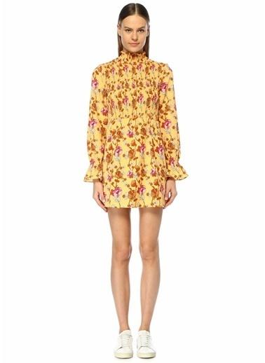 Glamorous Dik Yaka Çiçekli Büzgülü Uzun Kol Mini Elbise Pembe